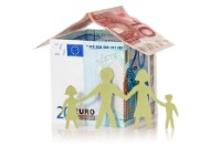 Family and their Euro house made from banknotes on white background